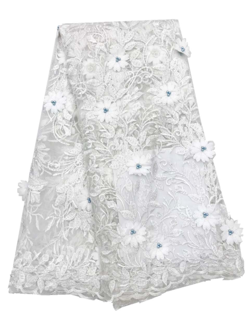 French lace fabric white beads party dress lace african lace fabric with stones 5 yards per lot 3D appliqueFrench lace fabric white beads party dress lace african lace fabric with stones 5 yards per lot 3D applique