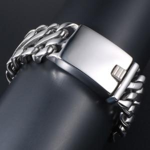 Image 4 - Punk Rock Dad Mens Gifts Massive Large Bracelet For Men Heavy Polished Stainless Steel Link Chain Jewelry Friendship Bracelets