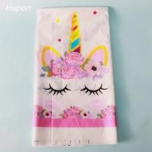Mantel de plástico para fiestas de unicornios de 108x180 cm, regalo para niños, fiesta de cumpleaños, decoración de mesa, cubierta de unicornio, suministros para fiestas temáticas