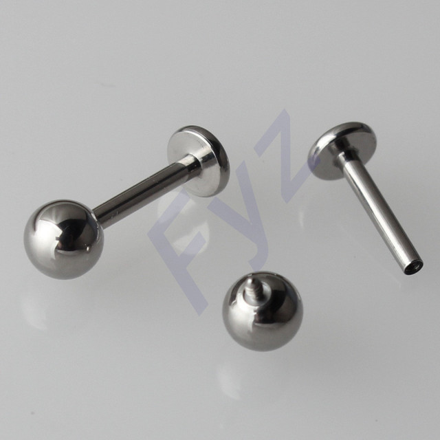 Polissage élevé G23 titane filetage interne Labret lèvre Piercing 14G 16G oreille Cartilage hélice Tragus goujon bijoux de corps