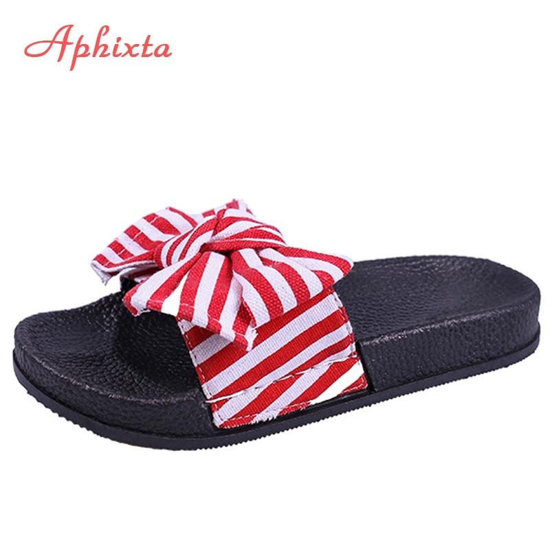 Aphixta Striped Slippers Women Summer 2018 Outside Flat With Slippers Outdoor Flower Beach Flip Flops Sandals Bathroom Slides
