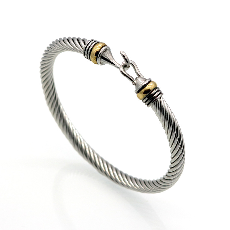 MB6 for K titanium steel wire twisted hook shaped jewelry gold bracelet bracelet stainless steel cable twisted stainless steel wire mens skull bangle bracelet
