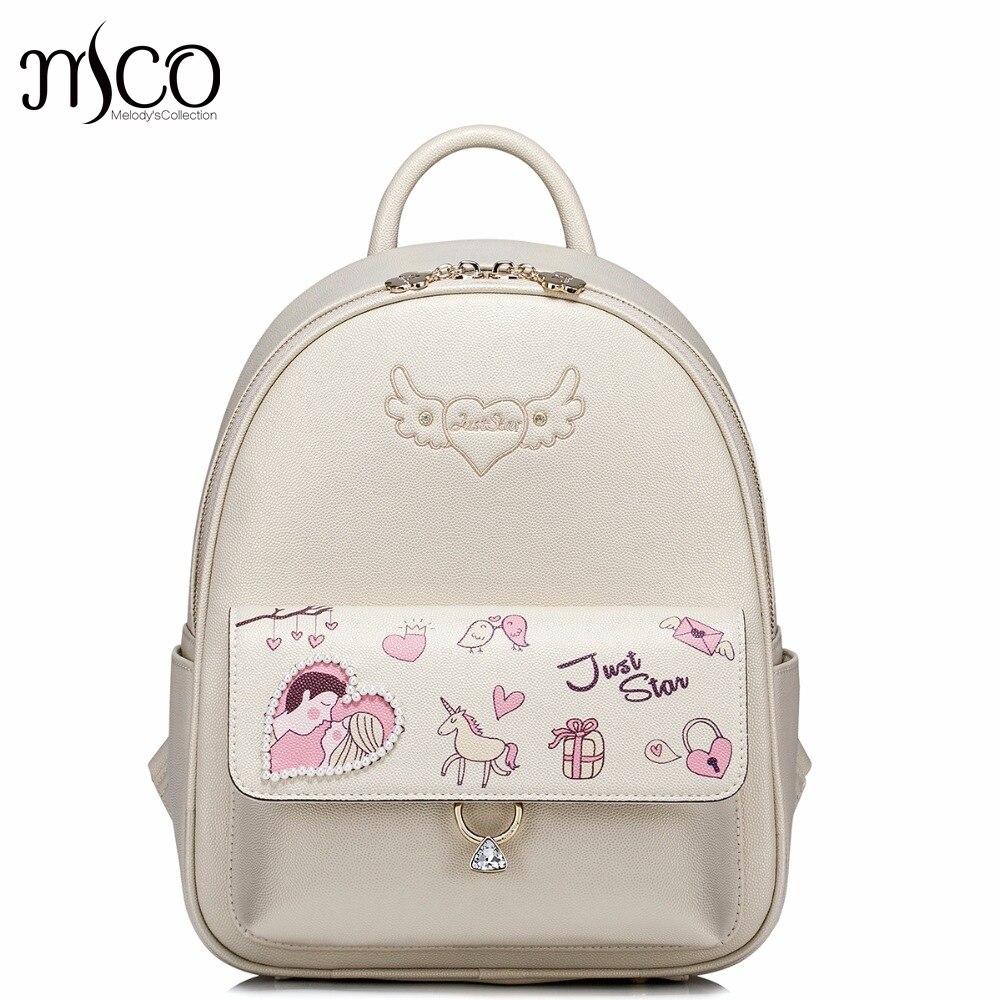 2017 New Brand Love Printing Diamonds Pearls PU Women Leather Ladies Girl Backpack Shoulders School Travel Bags Student Daypack