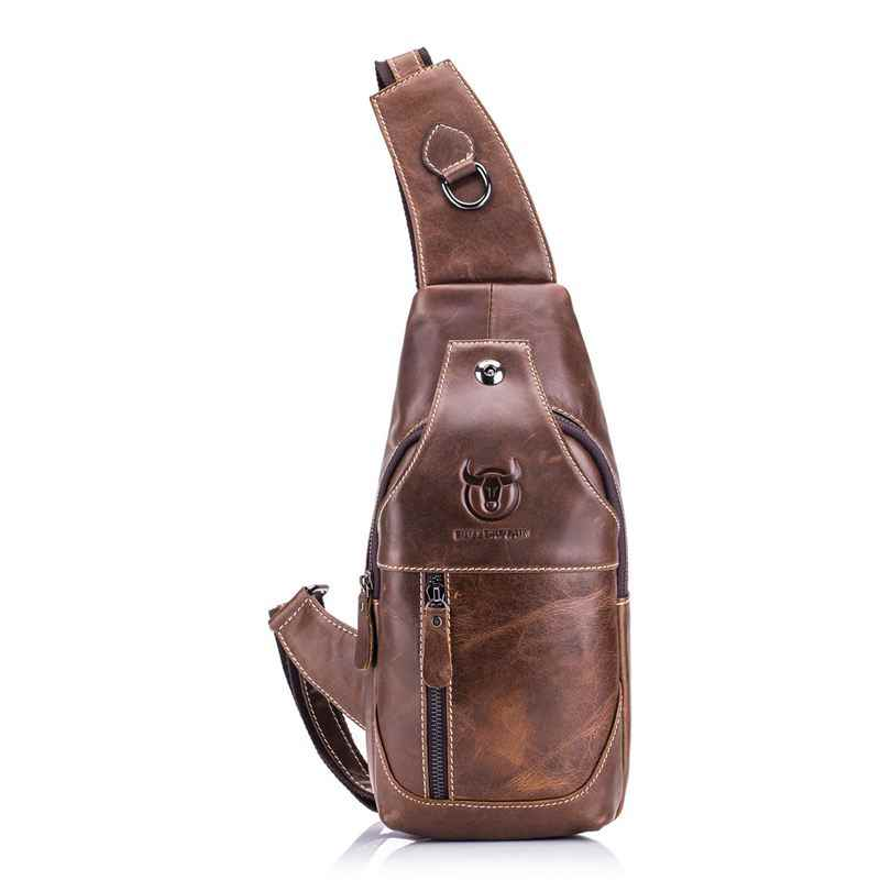 BULLCAPTAIN Men's Sling Bag Genuine Leather Chest Shoulder Cross Body Purse Water Resistant Anti Theft For Travel Hik