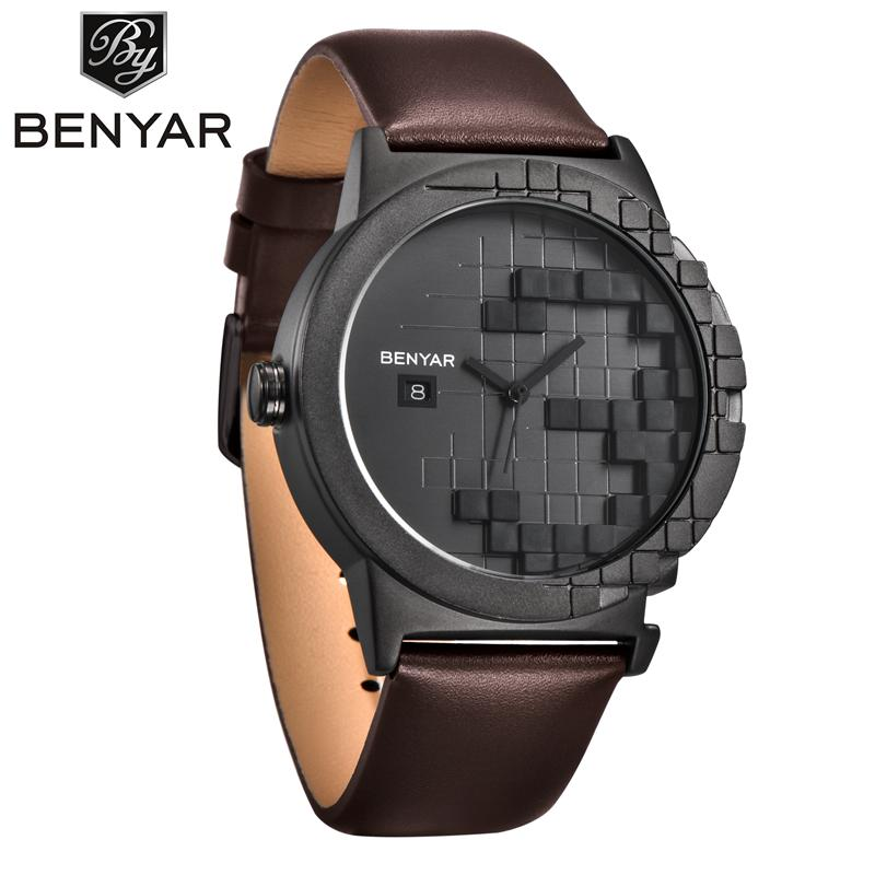 BENYAR Fashion Casual Leather Quartz Watch Men Watches Simple Auto Date Male Wristwatches Relogio Masculino Black Brown BY-5117M