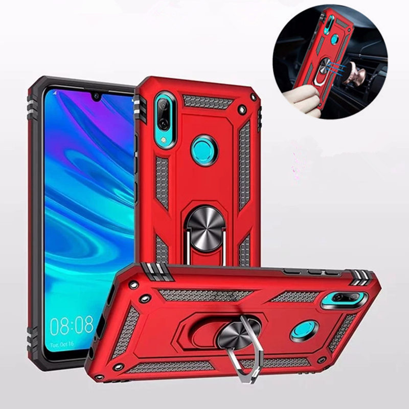 For Huawei P Smart 2019 Car Magnetic Metal Ring Silicone Holder Case On For Honor 10 Lite Shockproof Hybrid Armor Cover Coque