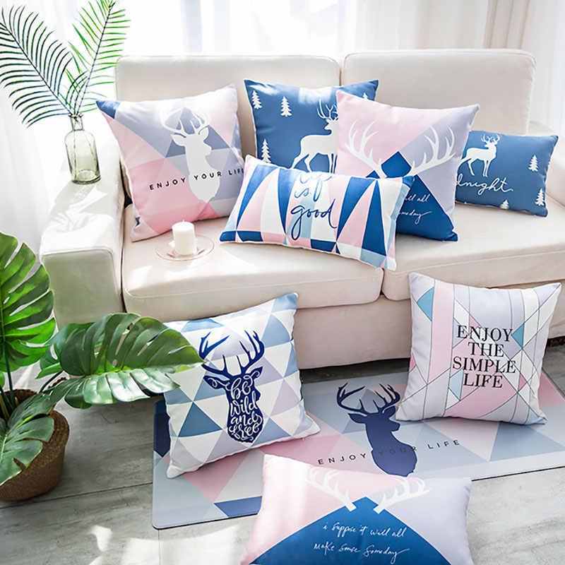 Скандинавские Розовые Наволочки с рисунком оленя, простые модные чехлы для подушек, офисные Чехлы для гостиной, тканевая наволочка со спинкой на талии