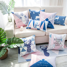 Nordic pink  Throw pillow Case Deer simple Fashion pillows Covers office living room backrest waist fabric Cushion Cover Cases