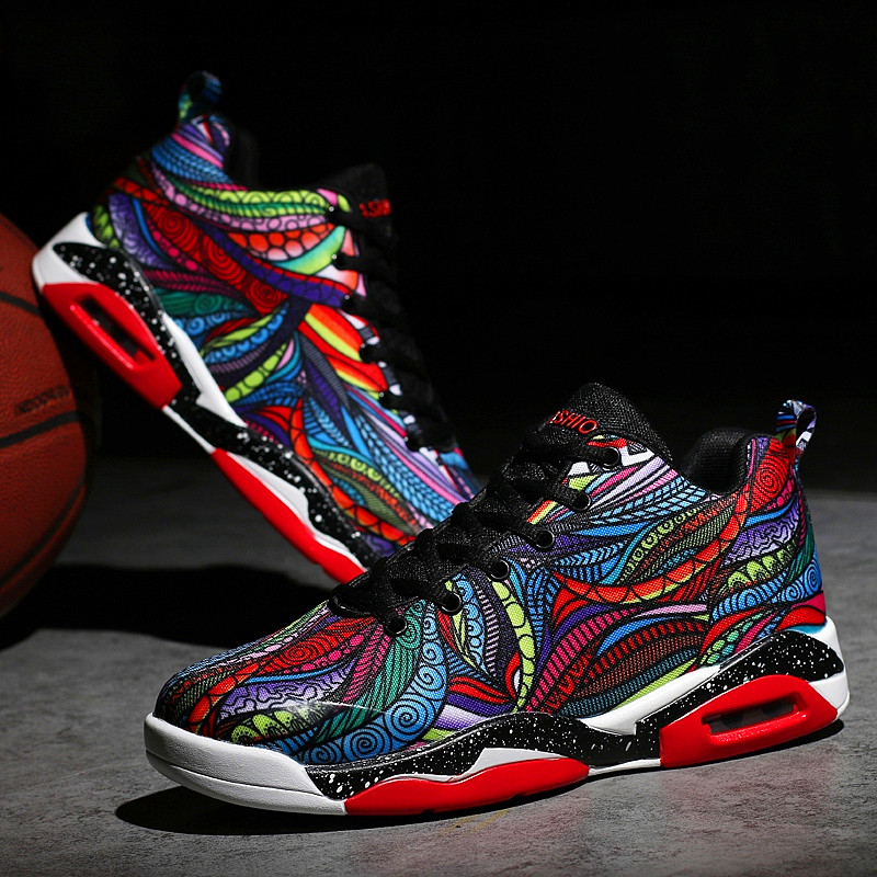 Colorful men's basketball ankle boots high quality sports shoes men's casual shoes breathable wear non-slip large size 35-47