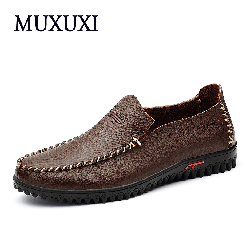 Top brand genuine leather casual shoes High quality men cow suede loafers soft breathable men comfortable  flats plus size 38-48