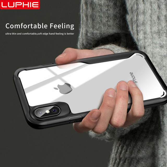 LUPHIE Shockproof Armor Case For iPhone XS XR 8 7 Plus Transparent Case Cover For iPhone 6 6S Plus 5 XS Max Luxury Silicone Case 2