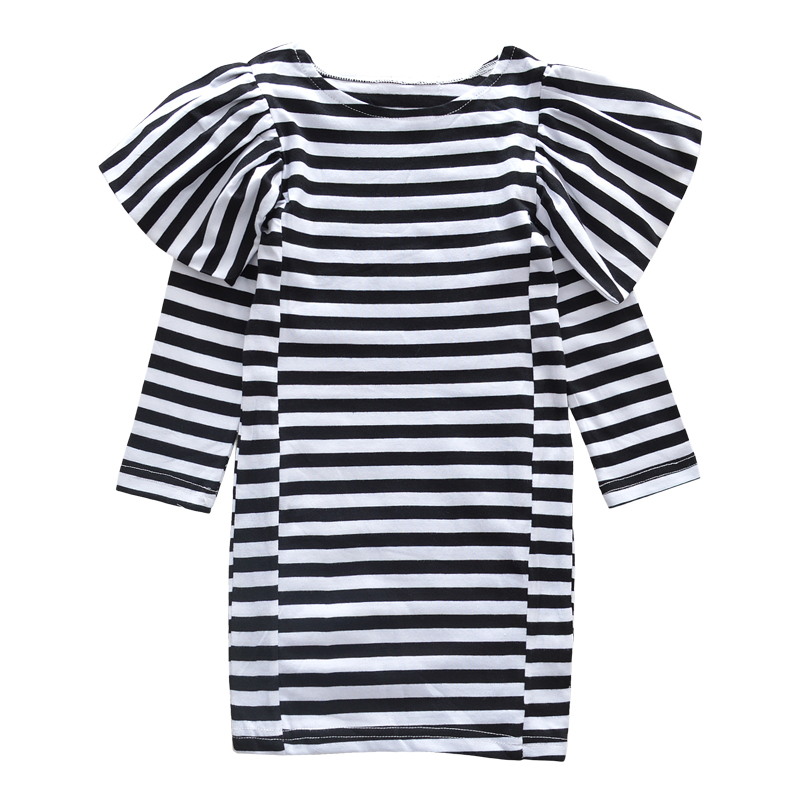 2017 NEWS Striped Sleeves Girls Dresses autumn Cartoon LONG Sleeve Dress In Stripe Cotton Girl Clothes Kids fashion 2016 new autumn girls dress cartoon kids dresses long sleeve princess girl clothes for 2 7y children party striped dress