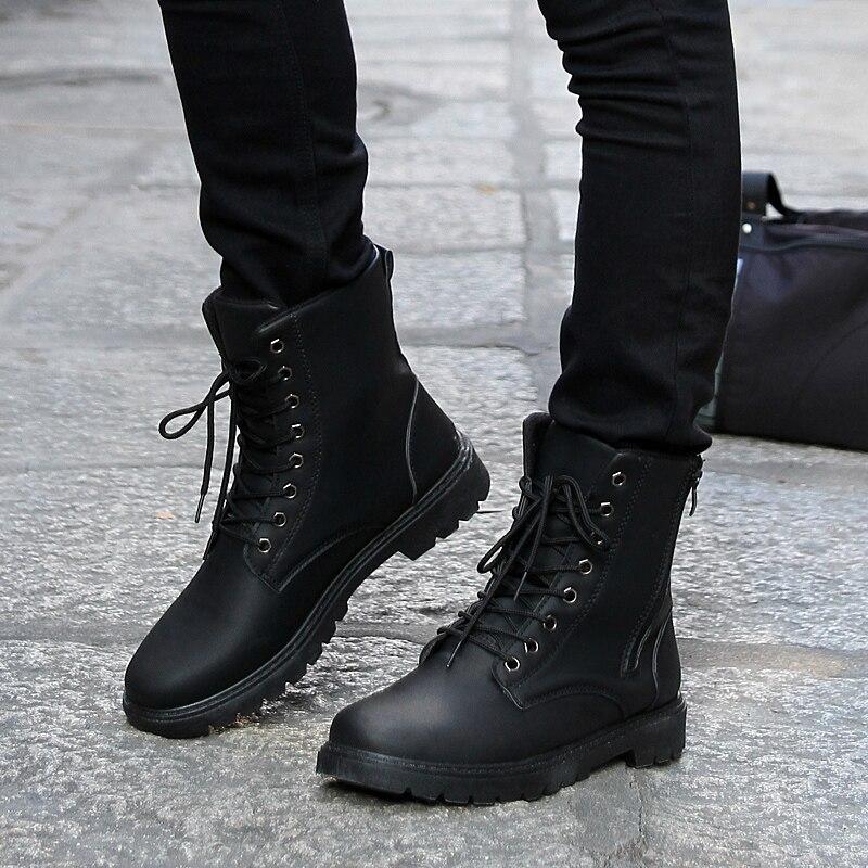 Retro Combat boots Winter England style fashionable Men's short ...