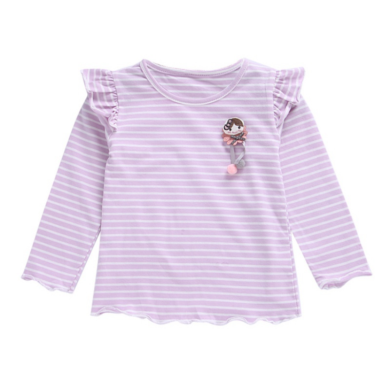 Cartoon T-Shirt Blouse Tops Long-Sleeve Baby-Girl Autumn Striped Kids Cotton Fashion