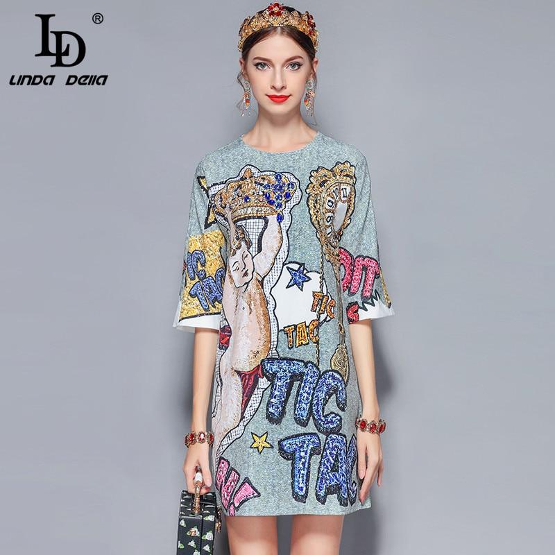 LD LINDA DELLA 2019 New Fashion Runway Summer Dress Women s Retro Half Sleeve Gorgeous Diamonds