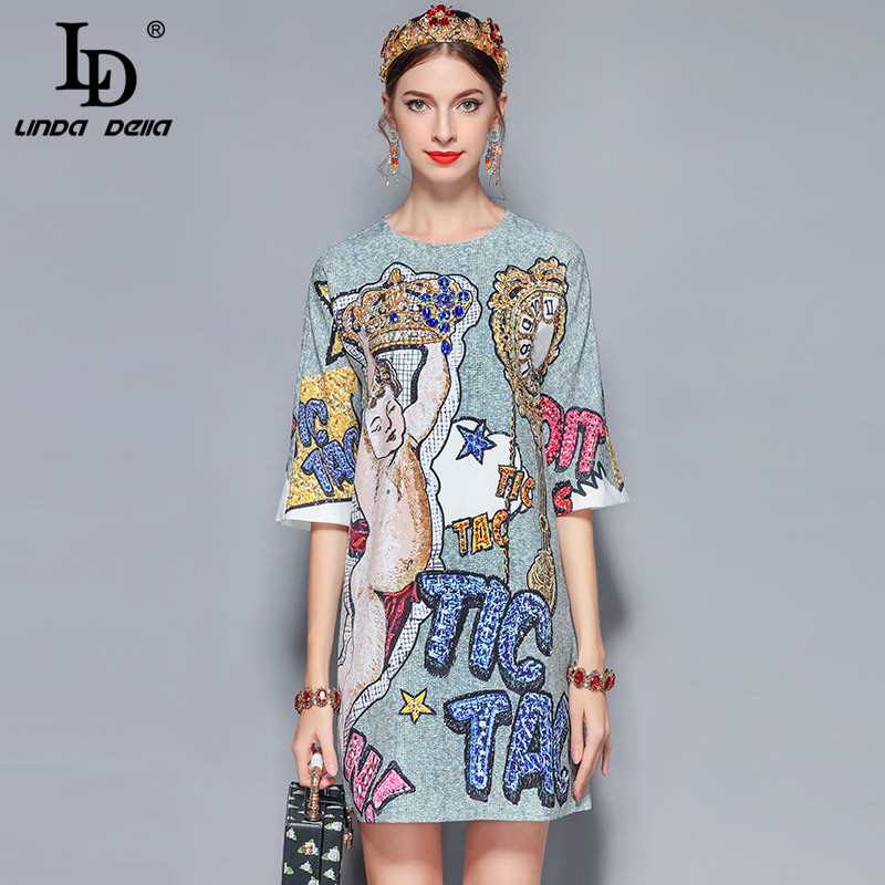 LD LINDA DELLA Gorgeous Diamonds Letter Print Vintage Dress 5121417