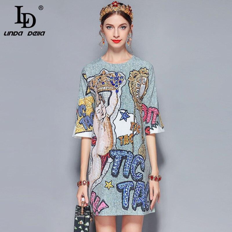LD LINDA DELLA 2019 nouvelle mode piste robe d'été femmes rétro demi manches magnifiques diamants lettre imprimé robe Vintage