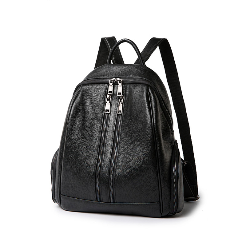 2017 Double Zipper Causal Style Women s Daypack 100 Soft Real Leather Female School Bag Good
