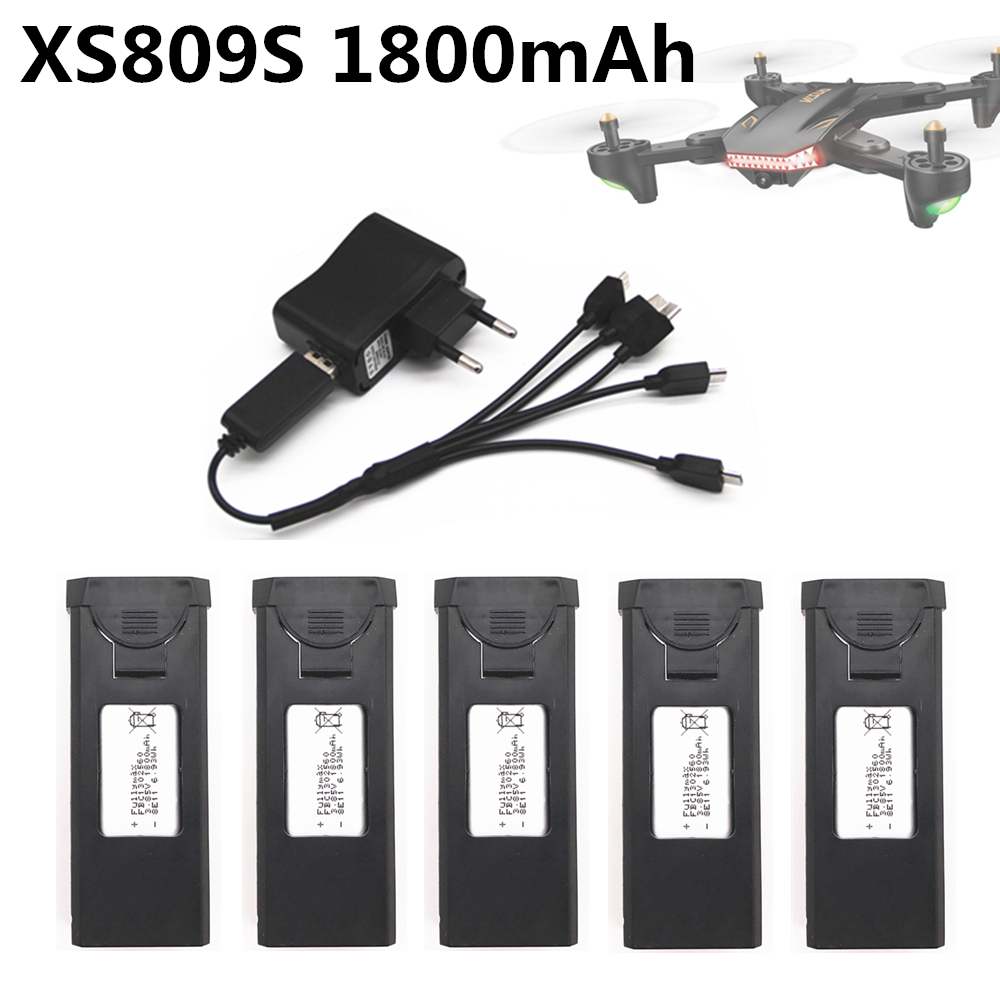Original Battery For Visuo XS809s Xs812 RC Quadcopter Spare Parts Accessories 3.7V 1800mAh Lipo Battery Rechargeable For Drones
