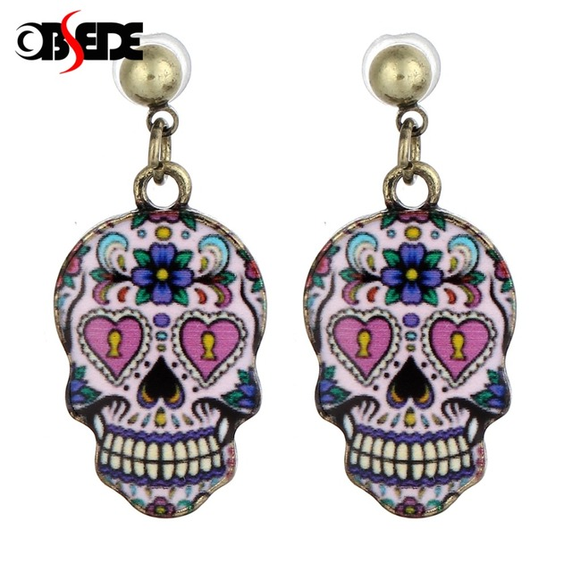 OBSEDE Women Skull Stud Earrings 1Pair Trendy Style Stud Earrings For Girls Sugar  Skull Flower Stud 2bfdac719934