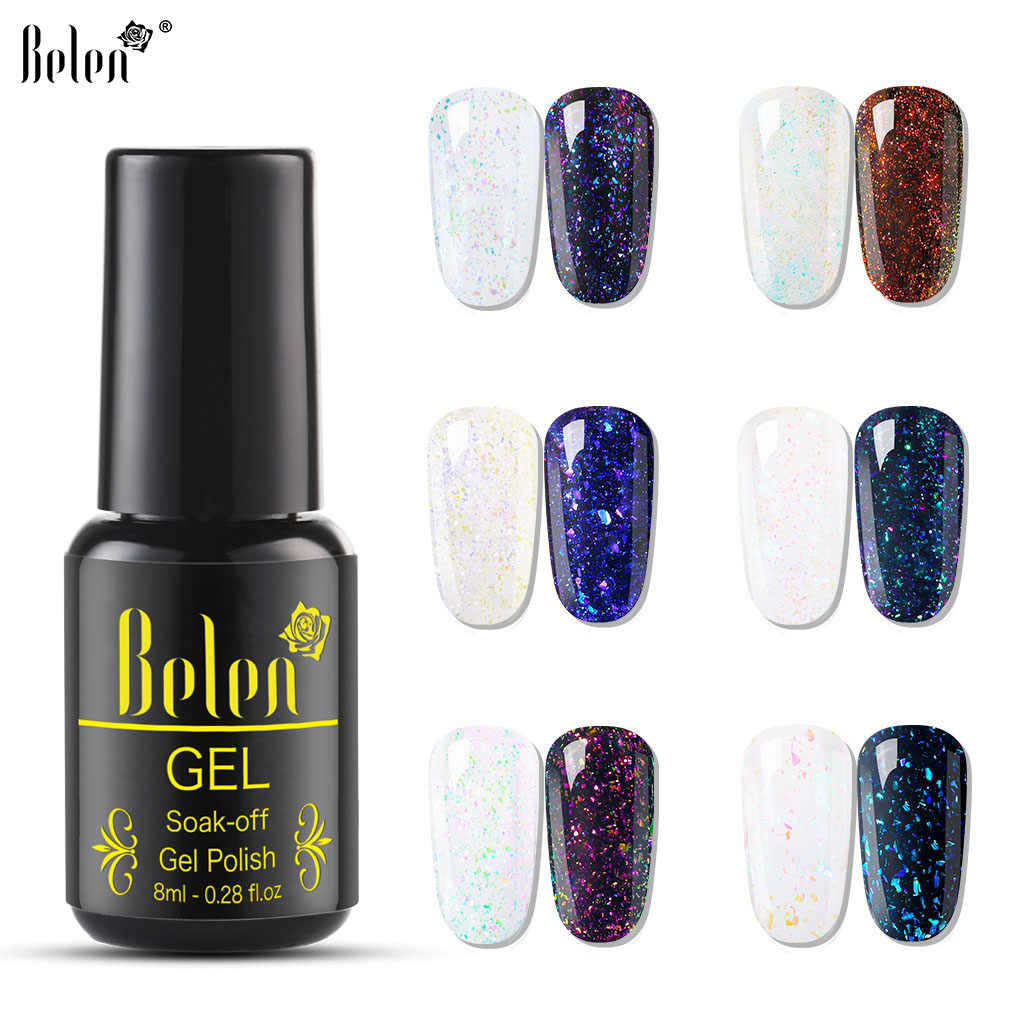 Belen 8 Ml Chameleon Uv Gel Nail Polish Starry Sparkle Gemerlapnya Rendam Off Pernis Kuku Seni Pernis Perlu Hitam Putih warna Base Top