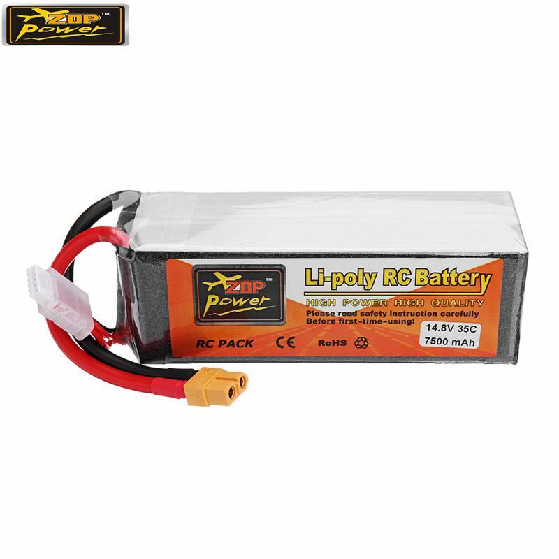 ZOP Power 14.8V 7500mah 35C 4S Rechargeable Lipo Battery XT60 Plug for RC Quadcopter Car high quality rechargeable lipo battery zop power 14 8v 1800mah 75c 4s lipo battery xt60 plug