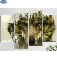 Acrylic On Canvas Diamond Embroidery Triptych Mountain Wolf 5d Diy Diamond Painting Full Square Diamond Mosaic