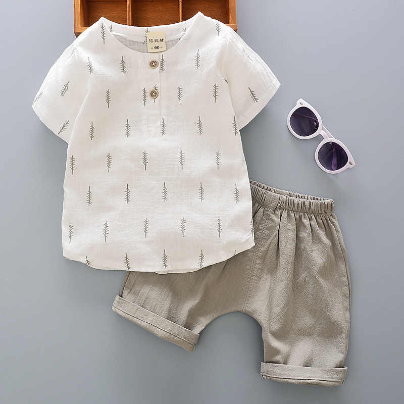 Retail Children's Clothing Floral T-shirt & Shorts Boy's Set Summer Baby Boy 2 Pieces Sets