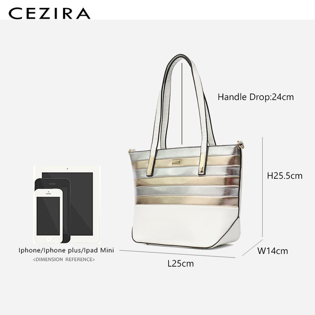 CEZIRA Designer Brand Women Bag Vegan Leather Fashion Tote Bags Female Large Capacity Shoulder Bags for Girls Patchwork Strip 5