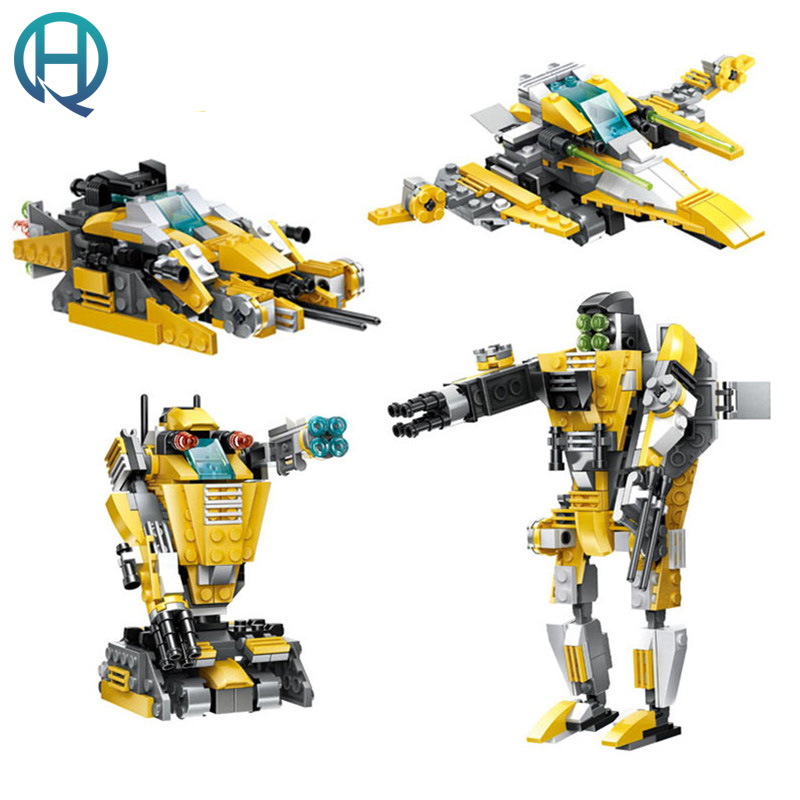 Wange 4 in 1 Military Robot DIY Model Building Blocks Bricks Sets  Educational Birthday Gift Toys For Children Boy Friends 128pcs military field legion army tank educational bricks kids building blocks toys for boys children enlighten gift k2680 23030