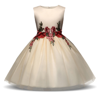 Thương hiệu Flower Cô Gái Váy Cưới Bé Gái Sự Kiện Đảng Evening Champagne Dresses Kids Quần Áo Trẻ Em Prom Vestidos Infantis