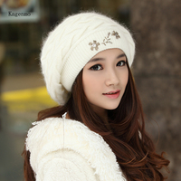 Kagenmo Warm Winter Women Hat Rabbit Fur Double Knitting Bomber Hats Female Keep Warm Outdoor Ear