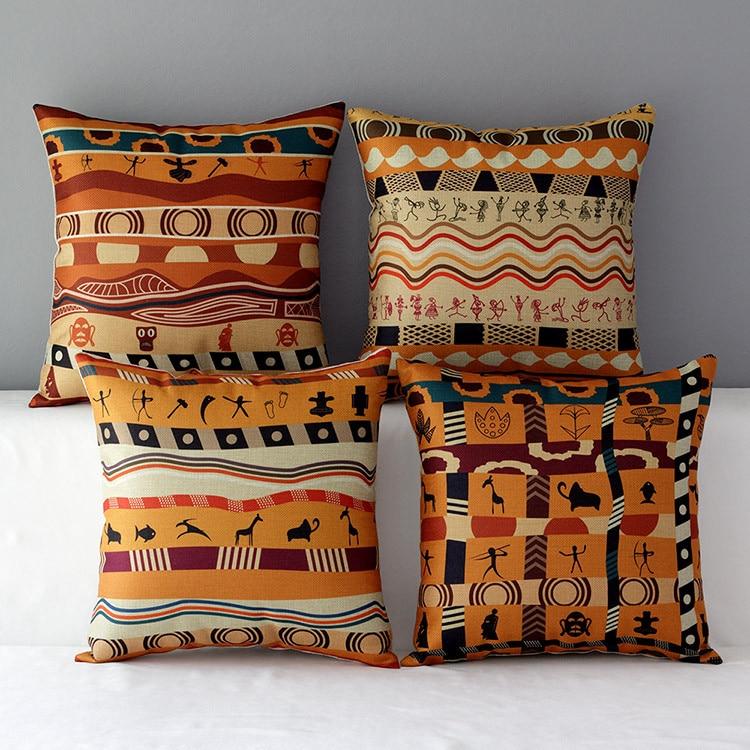 National African Throw Pillows Stripe Cushion Covers Decorative Sofa Vintage Cotton Linen Cojines Burlap Pillowcases 25pcs