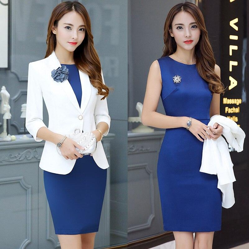 OL Work Office Lady Dress Suits 2 Piece Sets Elegant Women Blazer Jacket + Sheath Dresses Female Uniform Workwear D0179
