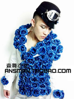 Exclusive original new bar nightclub singer DS male male demon wind charm blue roses side buckle Slim small suit jacket VSTINUS