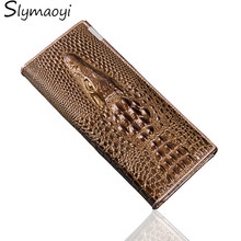 Slymaoyi Women Wallet Female Coin Purses Holders Genuine Leather 3D Embossing Alligator Fashion Crocodile Long Clutch Wallets