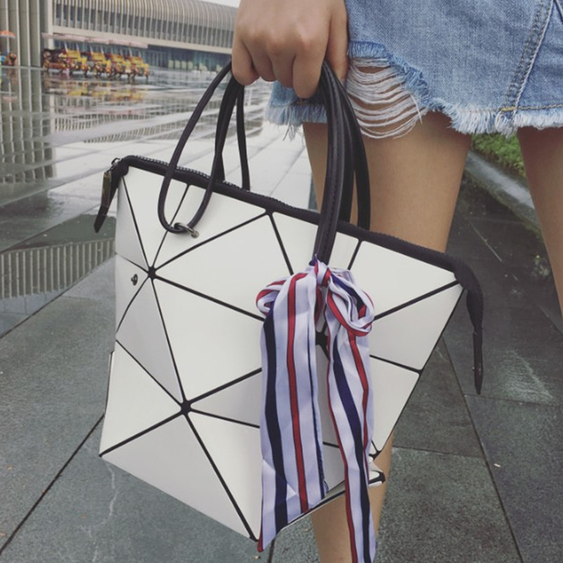 Trenadorab Women Top-Handle Bags Female Folded Geometric Plaid Bag Fashion Casual Tote Women Shoulder Bag With Ribbons blosas  aresland women bag female folded geometric plaid bag designer fashion casual tote women handbag shoulder bag quality leather