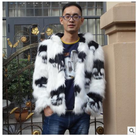 Patchwork Jackets Hooded Fur Faux-Fox-Fur Winter Mens Casual Autumn Skull Outwears Printing