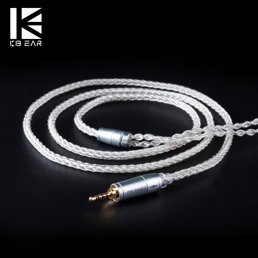 Kb orelha 8 núcleo atualizado cabo de prata 2pin/mmcx/qdc com 2.5/3.5/4.4 fone de ouvido cabo para a10 c10 zs10 zst im2 x6