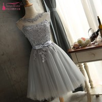 Gray Tulle Homecoming Dresses Short A Line Lace Applique Illusion special occasion dresses Cheap Graduation Gown In Stock DQG305