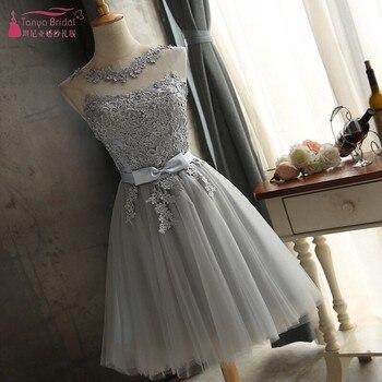 fb068a52bf183 Gri Tül Mezuniyet Elbiseleri Kısa Bir Çizgi Dantel Aplike Illusion özel  durum elbise Ucuz Mezuniyet Kıyafeti Stokta DQG305