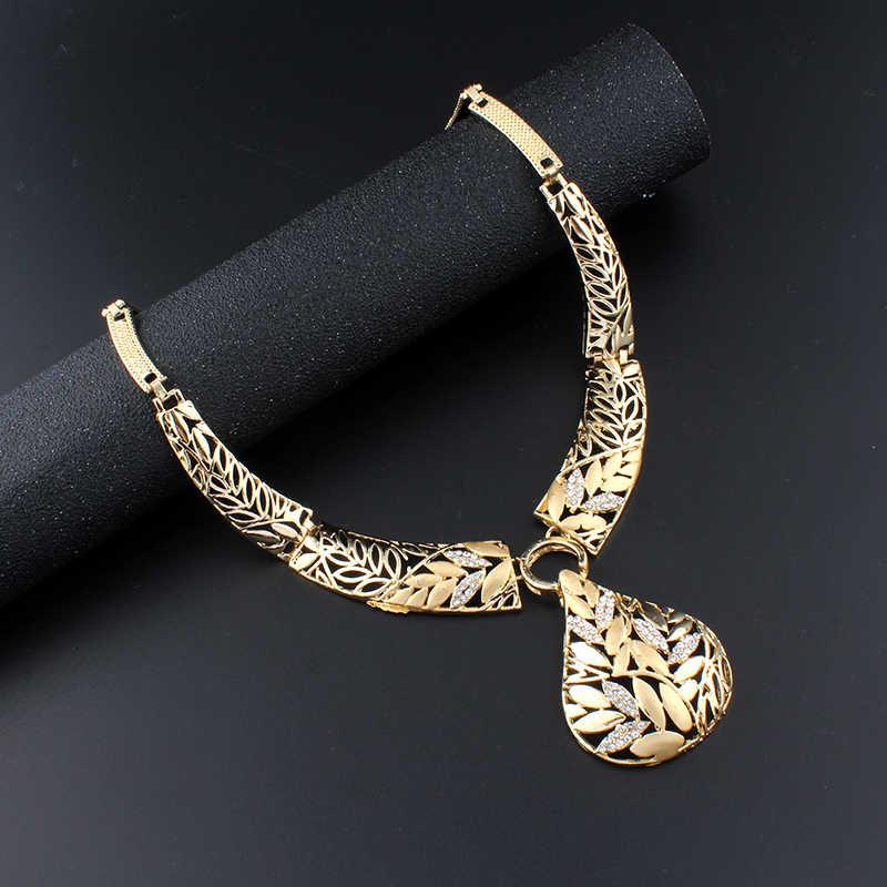 Jiayijiaduo India Perhiasan Set Emas Warna Kalung Daun Anting-Anting Gelang Pernikahan Dekorasi Perhiasan untuk Wanita Perhiasan