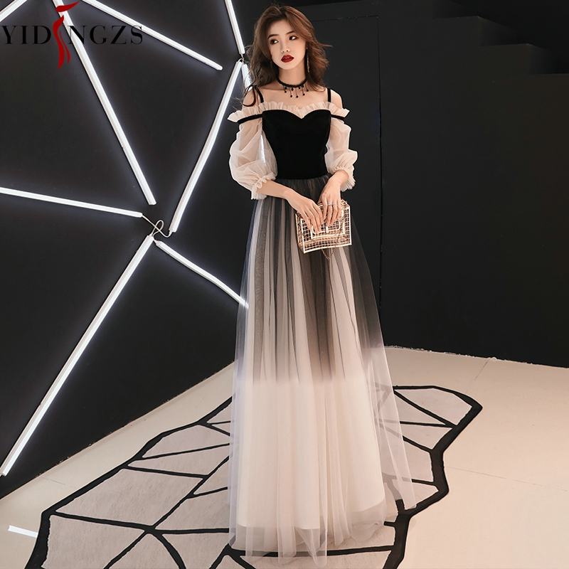 YIDINGZS Spaghetti Strap Gray Evening Dress Velour Tulle Party Elegant Long Dress