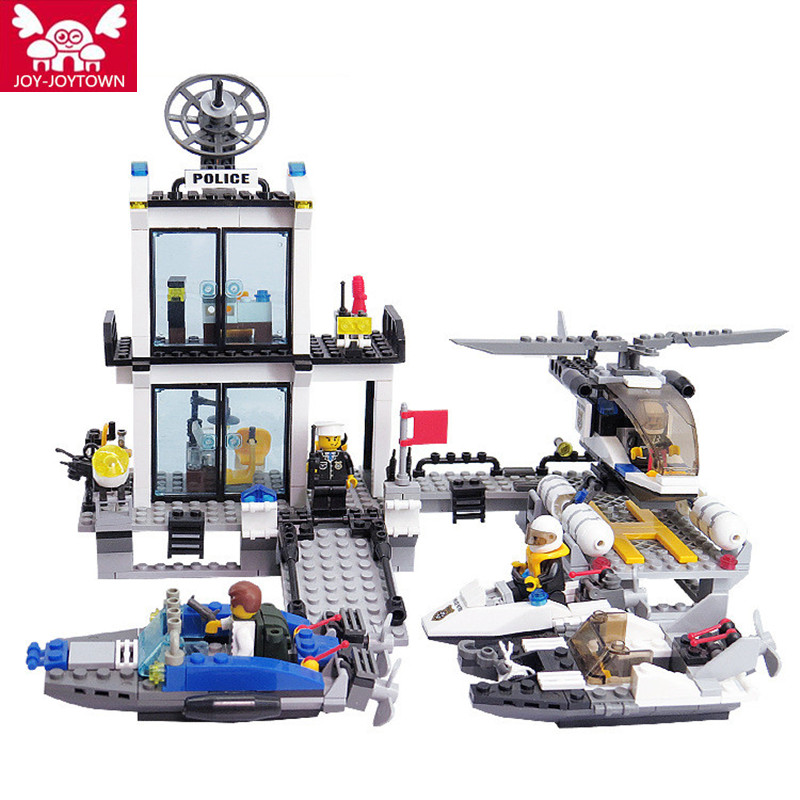 JOY-JOYTOWN Police Station Blocks Bricks Building Blocks Helicopter Speedboat Educational Education Toys For Children XD14 large fire station building blocks bricks educational toys learning education baby 2 5 years constructor set toys for children