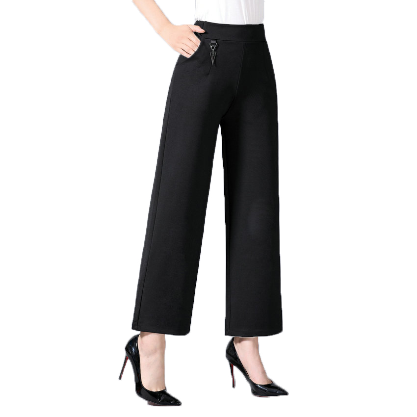 Women Elegant Wide Leg Pants Black Elastic Band High Waist Trousers Woman Smart Casual Pants Loose Trouser Lady Office Clothings