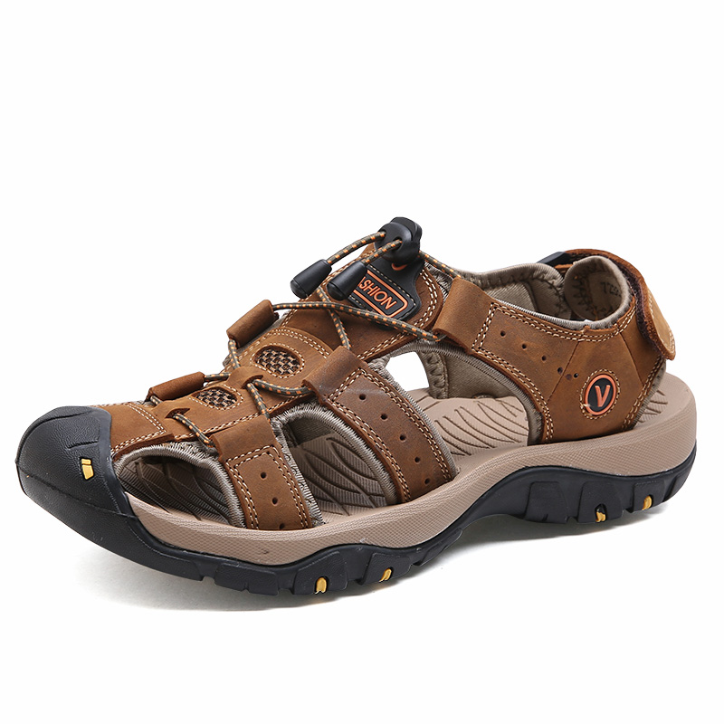<font><b>Summer</b></font> <font><b>Men</b></font> <font><b>Sandals</b></font> Genuine Leather Cowhide <font><b>Men</b></font> <font><b>Sandals</b></font> 2019 Quality Beach Slippers Casual Sneakers <font><b>Outdoor</b></font> Beach Shoes image
