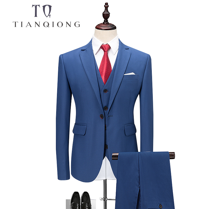 TIAN QIONG 3 สี 3 ชิ้น Slim Fit Men Notch Lapel งานแต่งงานเจ้าบ่าว Leisure Tuxedo 2018 ล่าสุด Coat กางเกง Designs M 6XL-ใน สูท จาก เสื้อผ้าผู้ชาย บน   1