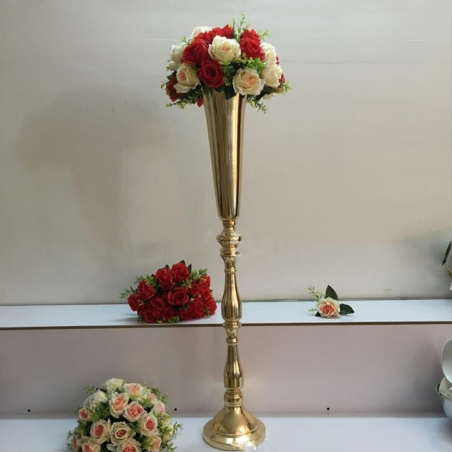 100 CM Height Gold Metal Flower Vase Candle Holder Wedding ...