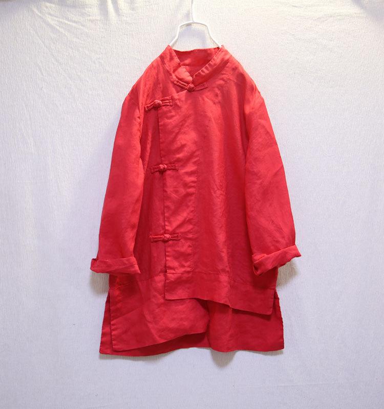 rouge Littérature N039 Col Bleu À Rétro Chinois Solide Femmes Ramie Lâche Couleur Longues Style Manches Nouvelle jaune Stand Chemises Arrivée Veste Hw4PCC