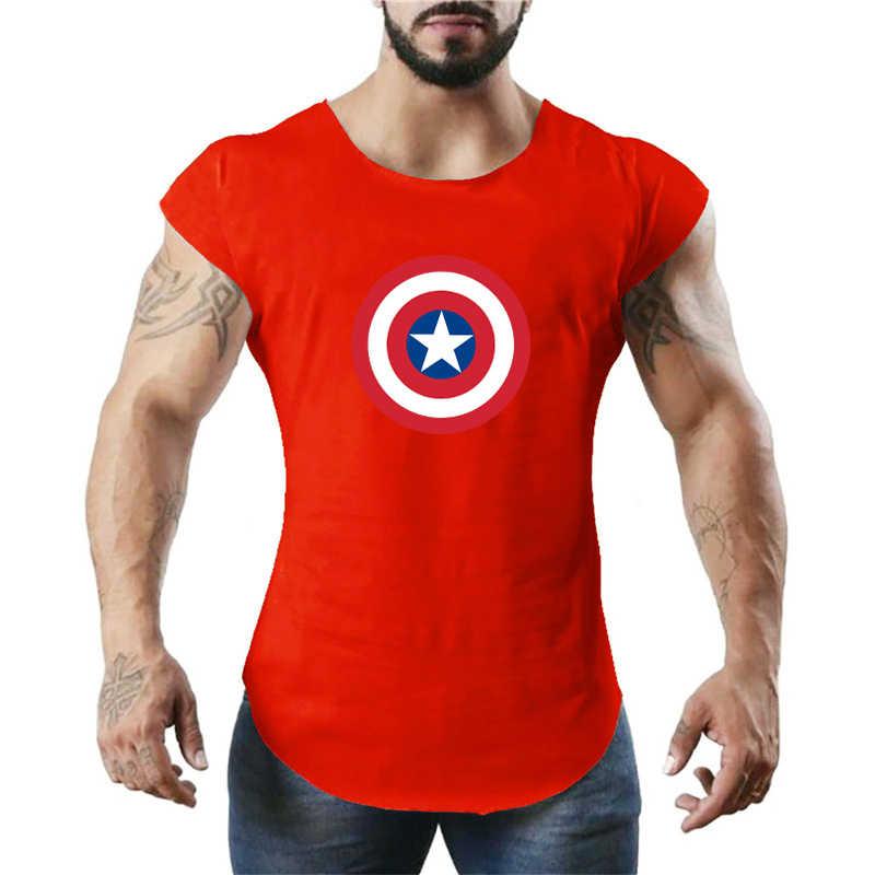 Капитан Америка без рукавов спортивная футболка Для мужчин тренажерный зал Топ Для мужчин работает жилет Фитнес хлопковый топик жилет футболка для бодибилдинга